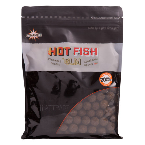 Бойлы плавающие DYNAMITE BAITS Foodbait Hot Fish & GLM 15 мм.