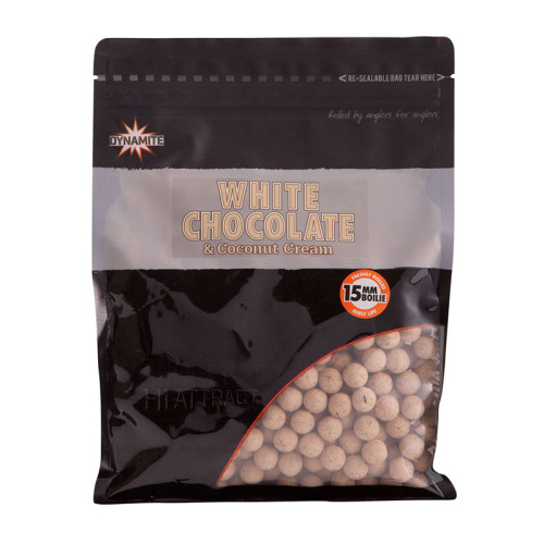 Бойлы тонущие DYNAMITE BAITS White Chocolate & Coconut Cream 15 мм. 1 кг.