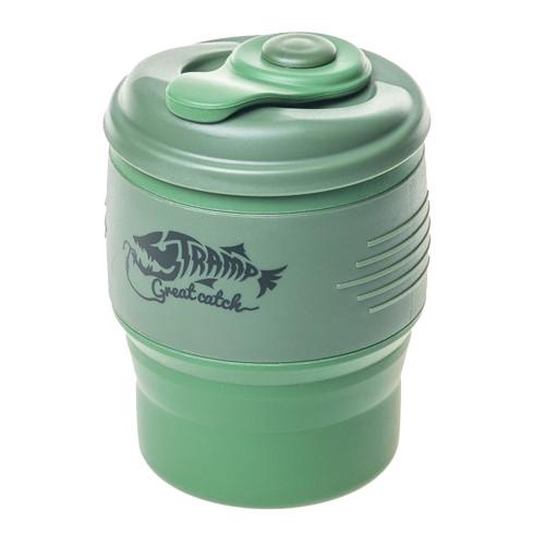 Tramp кружка силиконовая складная с крышкой (оливковый/зеленый, 350 мл)