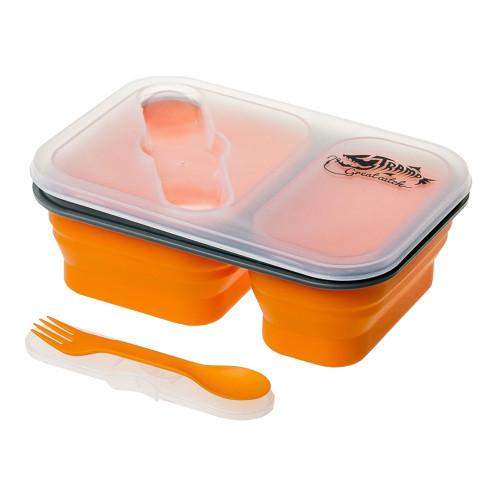 Tramp контейнер силиконовый 2 отсека с ловилкой 900 мл (оранжевый)